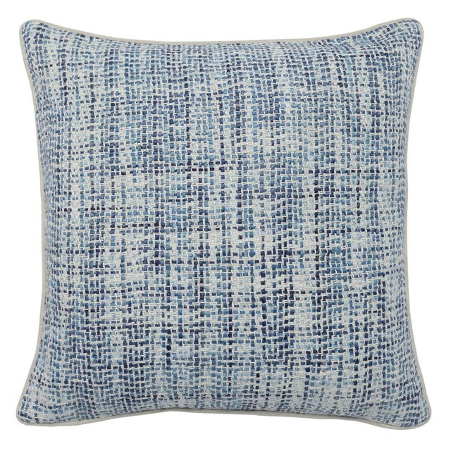 Feather Contemporary Home Navy Blue Textured Square Pillow For Sale - Image 7 of 7
