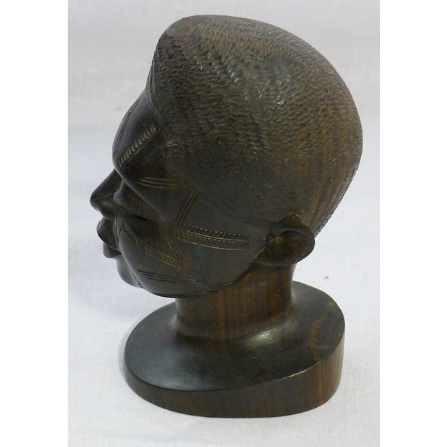 Vintage Hand-Carved African Ebony Head - Image 6 of 6