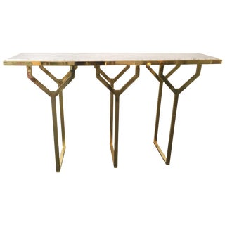 Contemporary Console Y Brass and Marble For Sale