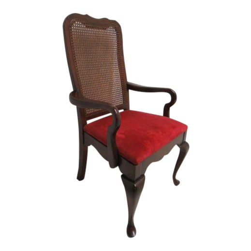 Vintage Thomasville Solid Cherry Queen Anne Caned Chair For Sale