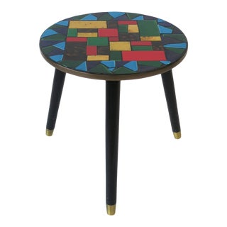 Mid-Centuy Modern Tile Mosaic Round Side Table For Sale