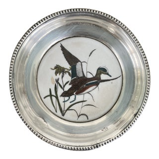Vintage 1940s Frank Whiting Sterling Silver and China Duck Coaster For Sale