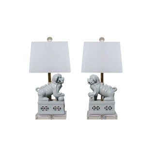 Guardian Foo Dog Table Lamps - A Pair For Sale
