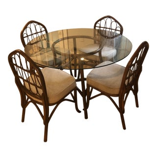 1960s Vogue Rattan Mid Century Dining Set - 5 Pieces For Sale