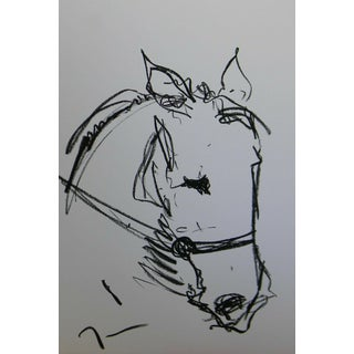 """Minimalism Jose Trujillo - Oil Pastels Painting, Horse Equestrian - 13x19"""" For Sale"""