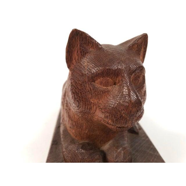 Wood Folk Art Hand Carved Wood Cat Sculpture For Sale - Image 7 of 12