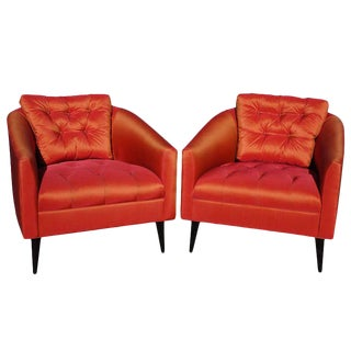 Mid-Century Modern Satin Chairs - A Pair