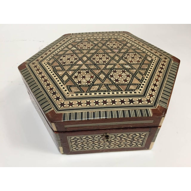 Middle Eastern Syrian Mother-Of-Pearl Inlaid Octagonal Box For Sale - Image 9 of 10