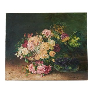19th Century French Floral Still Life Oil on Canvas Painting For Sale