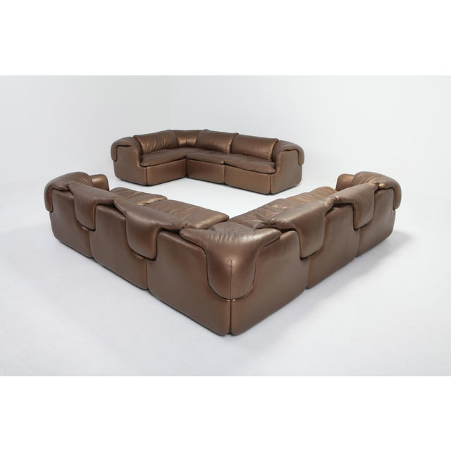 Saporiti Bronze Leather Saporiti High-End Sectional Sofa 'Confidential' For Sale - Image 4 of 12