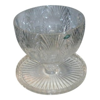 Shannon Crystal Convertible Cake Stand Punch Bowl For Sale