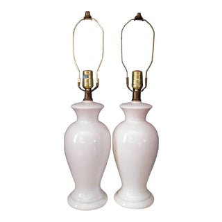 Vintage 1970s White Ceramic Lamps - a Pair For Sale