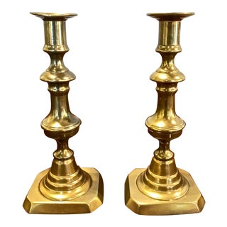 Pair 19th C. Brass Candlesticks For Sale