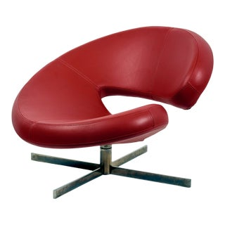 1990s Vintage Roche Bobois Swivel Chair Designed by Robert Tapinassi & Maurizio Manzoni For Sale