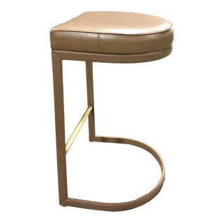 Leather & Brass Base Bar Stool For Sale