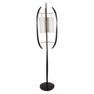 Italian Midcentury Sculptural Ebonized Walnut, Brass & Frosted Glass Floor Lamp For Sale