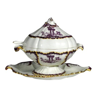 18th-Century Creamware Sauce Tureen Puce-Decorated by Neale & Co. For Sale