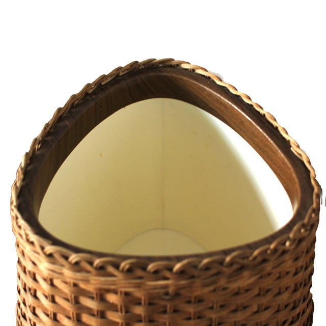 Mid-Century Wicker Ice Bucket For Sale - Image 4 of 4