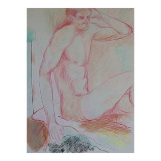 1990s Seated Male Nude Drawing by James Bone For Sale