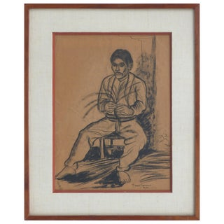 Marion Greenwood Charcoal Drawing on Paper, Dated 1933 For Sale