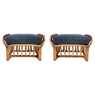 Architectural Rattan Stools, Pair For Sale