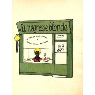 Paris Storefront, French Lithograph, La Negresse Blonde, 1925, Matted 11 X 14 For Sale