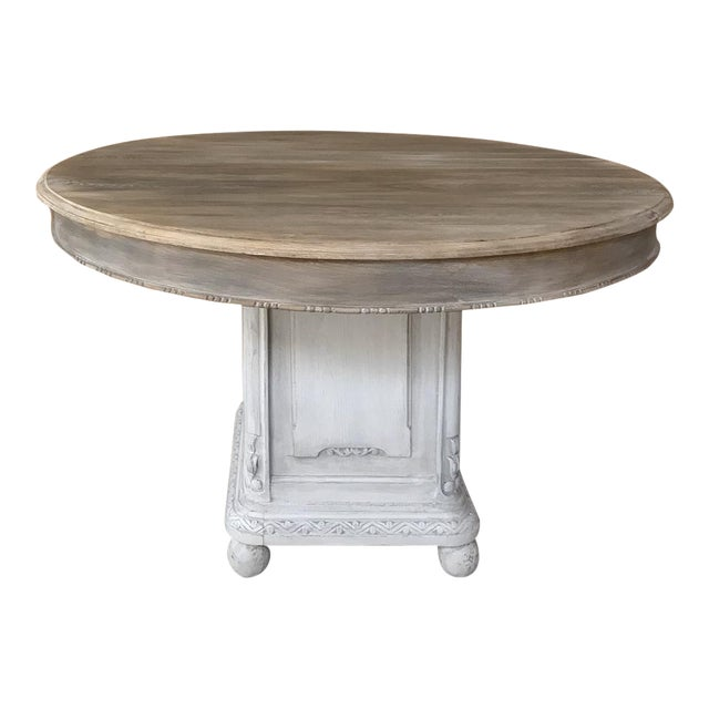 19th Century French Louis XVI Painted Pedestal Table For Sale
