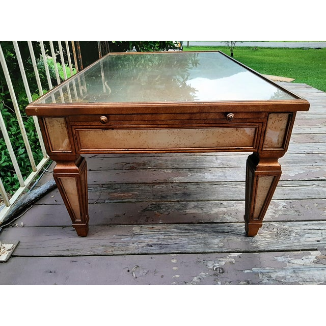 Theodore Alexander Eglomise Gilded Wood and Glass Coffee Table With 3 Drawers and 2 Leather Pull Outs For Sale - Image 6 of 13