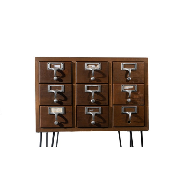 Industrial Vintage Hairpin Leg Card Catalogue Side Tables - a Pair For Sale - Image 3 of 9