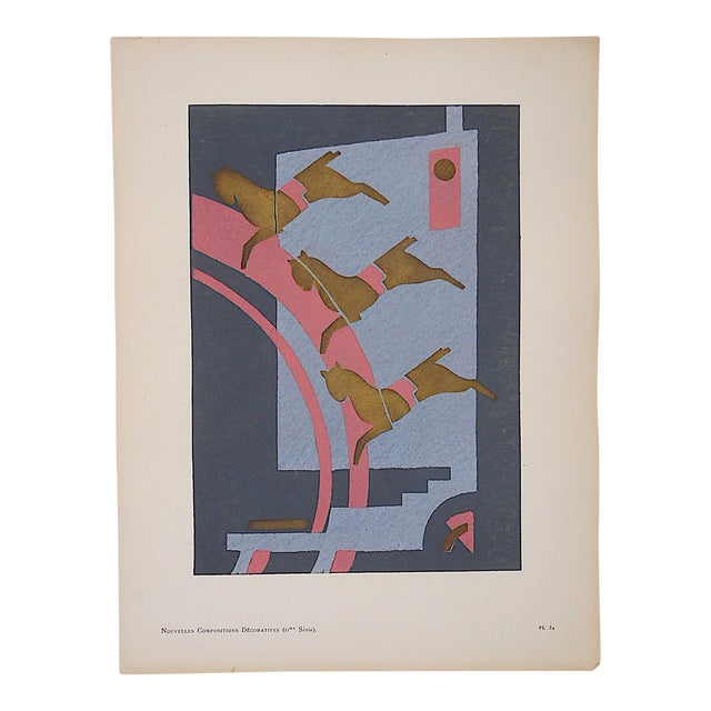 Vintage Serge Gladky Limited Edition Pochoir Print of Abstracted Horses, Circa 1928 For Sale