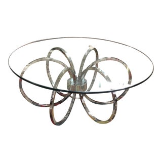 Chrome Spiral and Glass Coffee Table For Sale