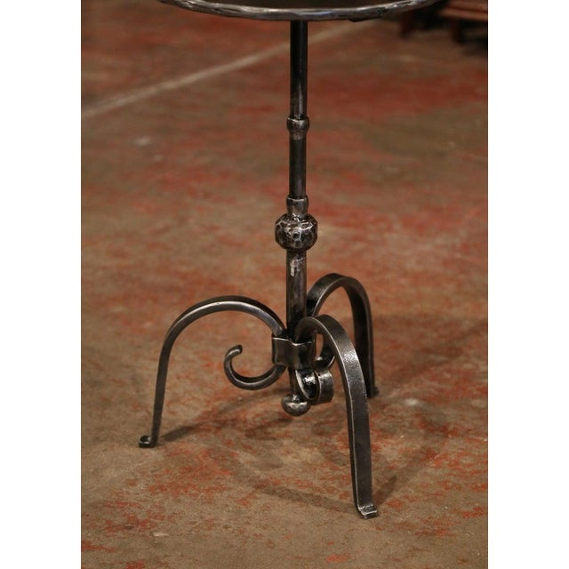 This elegant, antique Gothic pedestal table was crafted in Southern France, circa 1920. The intricate martini table...