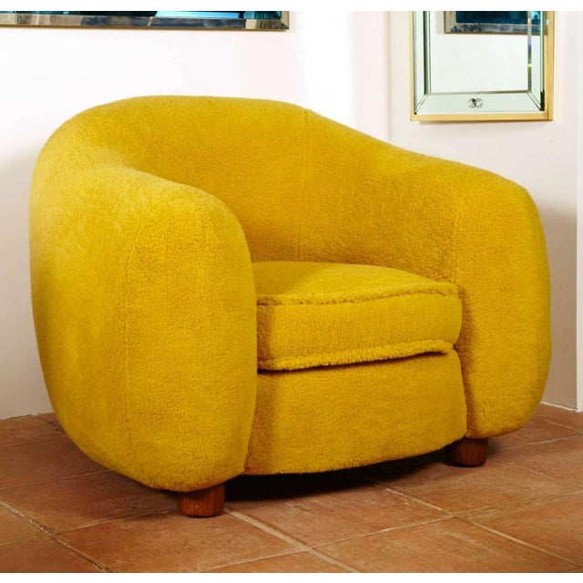 """Yellow Jean Royère Genuine Iconic """"Ours Polaire"""" Pair of Chairs For Sale - Image 8 of 11"""