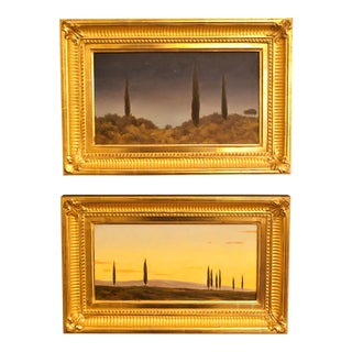 Tuscan Landscape Oil Paintings on Board by Daniel Murri, 2005 - Set of 2 For Sale