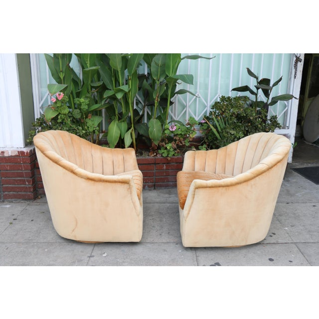 Velvet Swivel Chairs - A Pair For Sale - Image 5 of 11