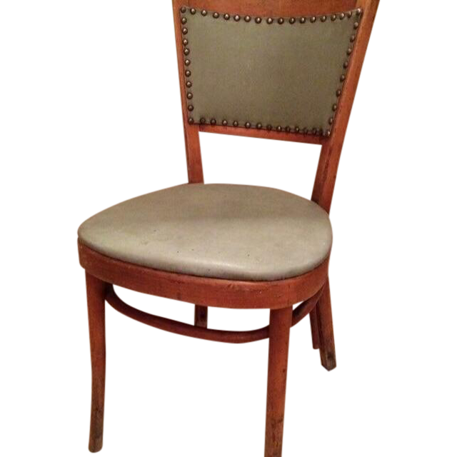 Antique Thonet Bentwood Chair Green Upholstery