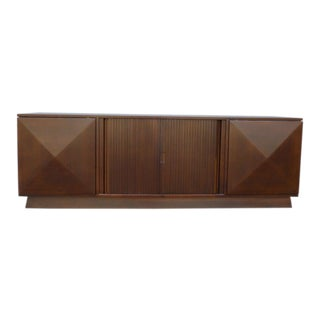 Mid-Century Danish Modern Walnut Credenza W Pyramid & Tambour Doors For Sale