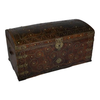 Antique Leather Bound and Studded Trunk from France, Dated 1729 For Sale