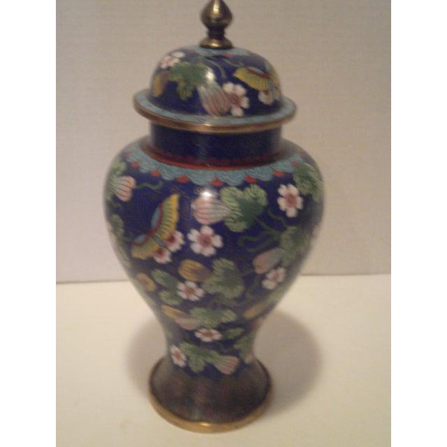 Cobalt Blue Cloisonne Covered Ginger Jar - Image 4 of 11