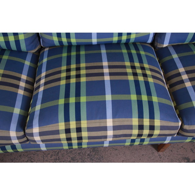 A. Rudin Down Filled Two-Piece Sectional Sofa in Plaid Upholstery For Sale - Image 9 of 13