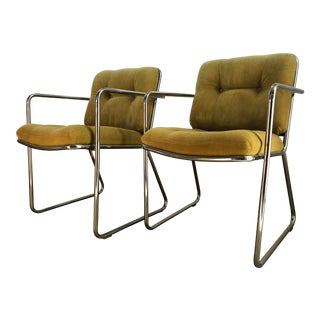 Vintage 1970s Mid Century Modern Chromed Chairs by ChromeCraft Corp. A Pair For Sale