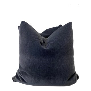 "Charcoal Mohair 22"" Pillows-A Pair For Sale"