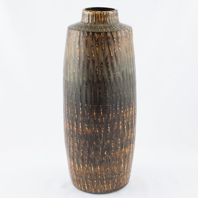 """Monumental Gunnar Nylund cylindrical stoneware floor vase with mottled brown and green """"hare's fur"""" glaze, from his..."""
