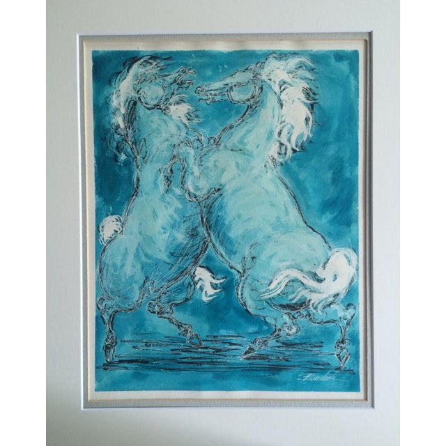 Charles Burdick White Horses Watercolor - Image 2 of 6
