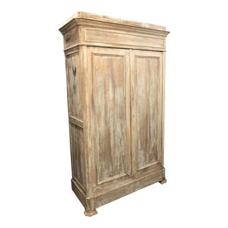 19th Century Antique French Louis Philippe Stripped Armoire
