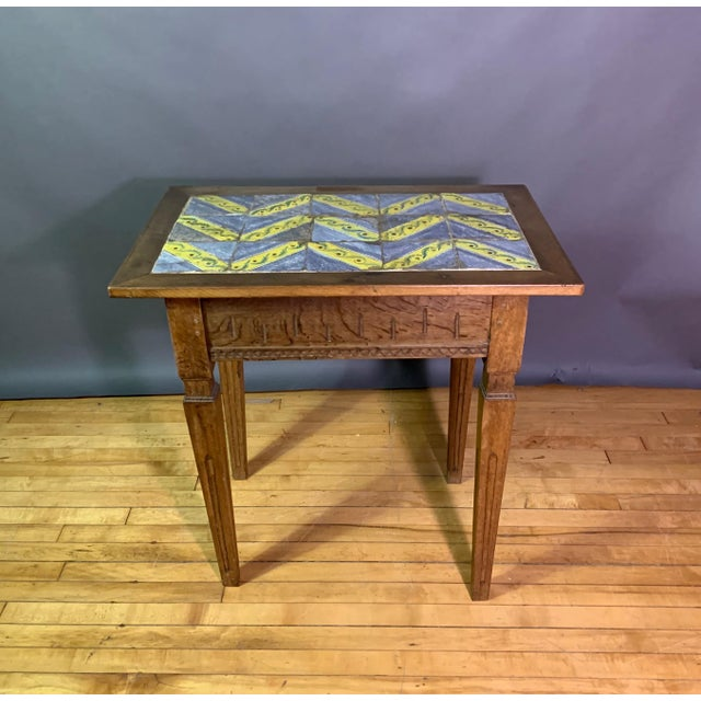 Early 20th Century Louis XVI Style Kellinghusen Tile Top Table For Sale - Image 4 of 11