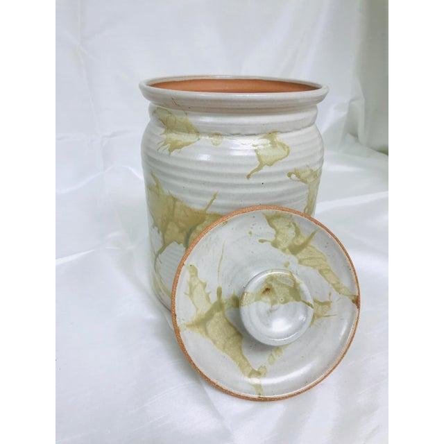 2010s Modern Contemporary Glazed Lidded Crock Canister Studio Pottery Jar For Sale - Image 5 of 8