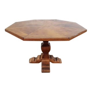 Antique French Octagonal Oak Dining Breakfast Center Pedestal 8 Seater Table For Sale