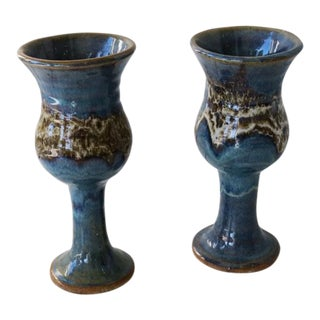 Ceramic Blue Goblets - A Pair