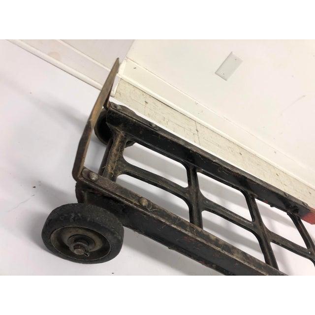 Black Vintage Industrial Factory Wood & Metal Dolly Cart For Sale - Image 8 of 13